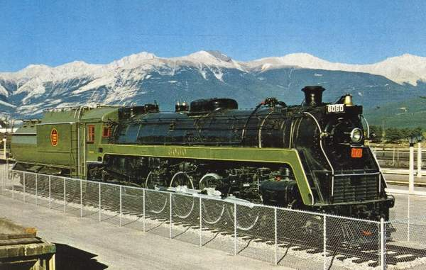 CN 6060 on display in Jasper, AB around 1969. Photo taken and submitted by Massey F. Jones.