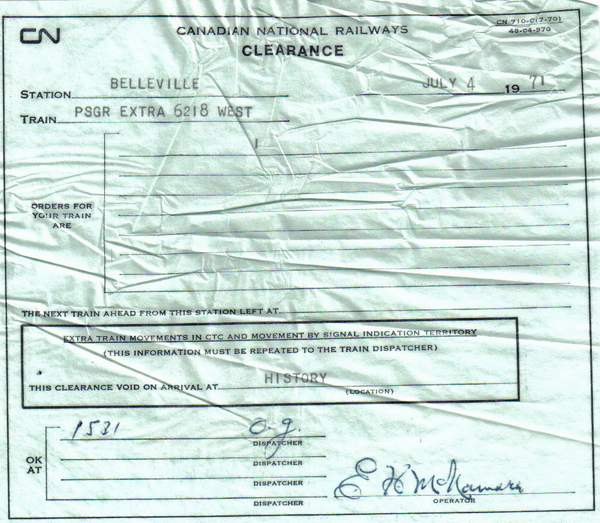 Clearance form for last run of CNR 6218, July 4, 1971.
